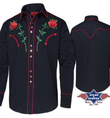 CAMISA WESTERN STARS & STRIPES MIDLAND RED ROSES IN BLACK