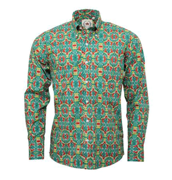 CAMISA RELCO GREEN WITH RED PATTERNED SHIRT