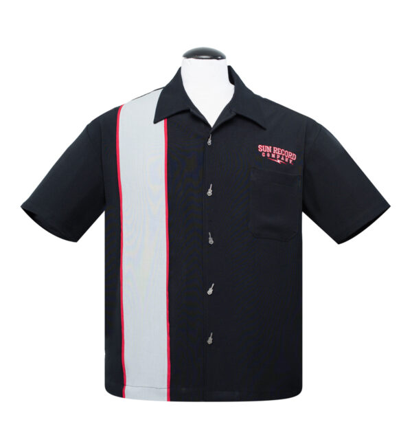 CAMISA STEADY BOWLING SUN ROCKABILLY SOUND PIPED PANEL IN BLACK