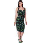 VESTIDO COLLECTIF MAINLINE KIANA BLACK FOREST PENCIL DRESS