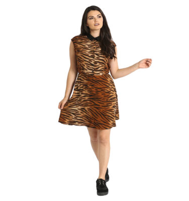 VESTIDO HELL BUNNY TORA TIGER PRINT MINI DRESS