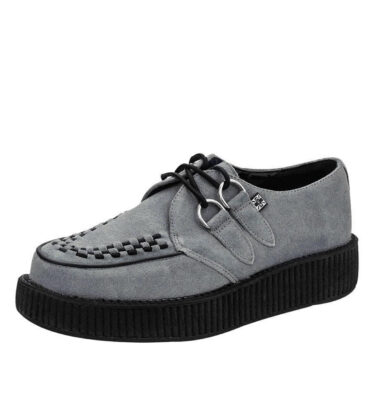 T.U.K. GREY SUEDE WITH BLACK INTERLACE VIVA CREEPER