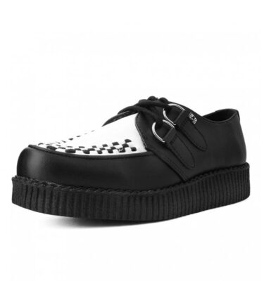 T.U.K. SHOES BLACK WHITE TUKskin™ VIVA FLEX ULTRA LOW SOLE CREEPER